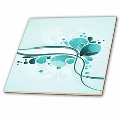3dRose Celebration Abstract-Ceramic Tile - Turquoise - Size: 4-inchx4-inch