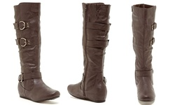 Carrini Women's Knee High 3-Buckle Boots - Brown - Size: 7