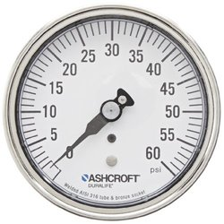 """ASHCROFT Duralife Type 1009 Stainless Steel Case Dry Filled Pressure Gauge, Stainless Steel Tube and Bronze Socket, Micrometer pointer, 3.5"""" Dial Size, 1/4"""" NPT Lower Back Connection, 0/60 psi Pressure Range"""