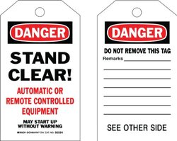 "Brady  86694 7"" Height x 4"" Width, Cardstock (B-853), Black/Red on White Accident Prevention Tags (100 Tags)"