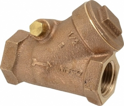 "NIBCO T-433-Y Cast Bronze Check Valve, Silent Check, Class 150, PTFE Seat, 1/2"" Female NPT Thread (FIPT)"