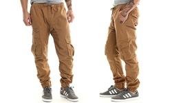 Akademiks Men's River Cargo Twill Jogger Pants - Khaki - Size: 2XL