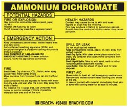 "Brady 93488 Vinyl Hazardous Material Label , Black On Yellow,  3 3/4"" Height x 4 1/2"" Width,  Legend ""Ammonium Dichromate"" (25 Labels per Package)"