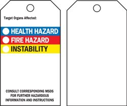 "Brady  76238 5 3/4"" Height x 3"" Width, Economy Polyester (B-851), Black, Red, Blue, Yellow on White Right-To-Know Accident Prevention Tags (25 Tags)"