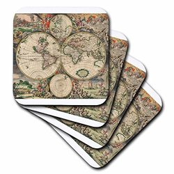 3dRose cst_7425_3 World Map 1689-Ceramic Tile Coasters, Set of 4