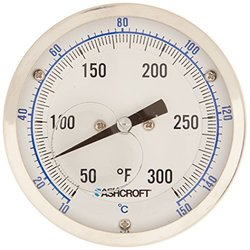 "Ashcroft EL Series Bimetal Thermometer, 3"" Dial Size, 1/2"" NPT Rear Stem Connection, 9"" Stem Length, 50 F-300 F Temperature Range, Dual Scale"