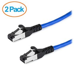 Aurum Cables High Performance Cat6a Snagless Shielded SSTP/SFTP Ethernet Patch Cable - 2 Pack - Blue - 7 Feet