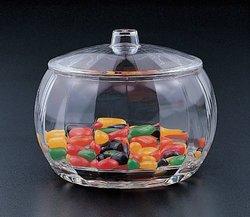 Blow Mold Stripe Candy Jar W/lid (Acrylic)