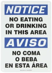 "Accuform Signs SBMGNF803VA Aluminum Spanish Bilingual Sign, Legend ""NOTICE NO EATING OR DRINKING IN THIS AREA/AVISO NO COMA O BEBA EN ESTA AREA"", 14"" Length x 10"" Width x 0.040"" Thickness, Blue/Black on White"