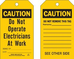 """Brady  86602 7"""" Height x 4"""" Width, Economy Polyester (B-851), Black on Yellow Accident Prevention Tags (10 Tags)"""