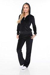 Women's Velour 2 Piece Set Lounge Suit 2828-06/S - Black - Size: Medium