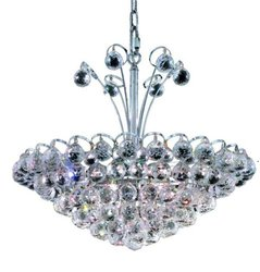 Elegant Lighting 2001D22C/RC Godiva 20-Inch High 8-Light Chandelier, Chrome Finish with Crystal (Clear) Royal Cut RC Crystal