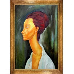 overstockArt Lunia Czechovska Framed Oil Reproduction of an Original Painting by Amedeo Modigliani, Vienna Wood Frame, Broken Gold Leaf Finish