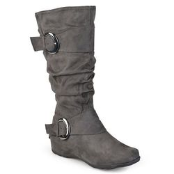 Journee Collection Women's Extra Wide Calf Riding Boots - Grey - Size: 8.5