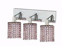 Elegant Lighting 1283W-O-R-RO/RC Mini 8-Inch High 3-Light Wall Sconce, Chrome Finish with Rosaline (Pink) Royal Cut RC Crystal