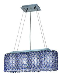 Elegant Lighting 295D24C/SA/RC Moda 7-Inch High 4-Light Chandelier, Chrome Finish with Sapphire (Blue) Royal Cut RC Crystal