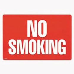 - Two-Sided Signs, No Smoking/No Fumar, 8 x 12, Red