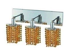 Elegant Lighting 1283W-O-P-LT/RC Mini 8-Inch High 3-Light Wall Sconce, Chrome Finish with Light Topaz (Yellow) Royal Cut RC Crystal