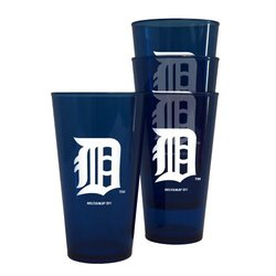MLB Detroit Tigers 16-Ounce Colored Plastic Pints (4 Pack)