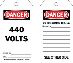 "Brady  86650 5 3/4"" Height x 3"" Width, Cardstock (B-853), Black/Red on White Accident Prevention Tags (100 Tags)"