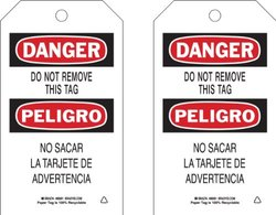 """Brady  86691 7"""" Height x 4"""" Width, Cardstock (B-853), Black/Red on White Accident Prevention Tags (100 Tags)"""