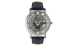 Collection Men's Imitation Skeleton Quartz Watch - Navy/Silver