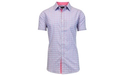 Galaxy by Harvic Men's Button Down Shirt - L Blue/Pink - Size: Small