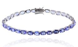 """13CTTW Oval Tanzanite Tennis Bracelet in Sterling Silver - Size: 8"""""""