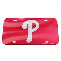 "MLB Philadelphia Phillies Logo Crystal Mirror License Plate, 6 x 12"""