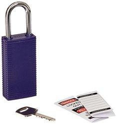 "Brady 123430 Lockout Padlock, Keyed Alike, 1/4"", Purple"