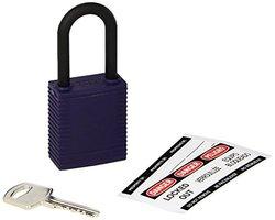 "Brady 123349 Lockout Padlock, Keyed Alike, 1/4"", Purple"