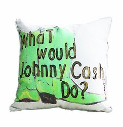 "Creative ""What Would Johnny Cash Do?"" Cowboy Boots Pillow- Green/ White"