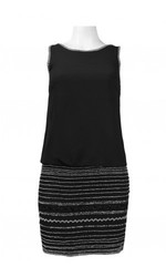 Adrianna Papell Scoop Back Beaded Skirt Chiffon Dress - Black - Size: 2