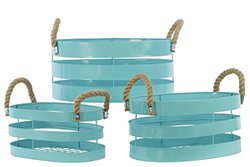 Cyan Metal Basket with Rope Handles (Set of 3