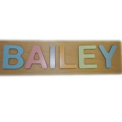 Ababy Kids Bailey Personalized Pastel Name Puzzle - Multi
