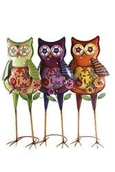 Indian Handicrafts Standing Metal Owl Patio Decor, 25-Inch, Set of 3