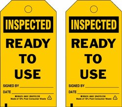 "Brady  86716 7"" Height x 4"" Width, Cardstock (B-853), Black on Yellow Accident Prevention Tags (100 Tags)"