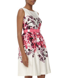 Chetta B. Women's Belted Floral Print Sateen Dress - Hot Fuchsia - Size: 4