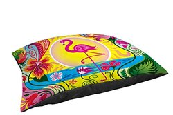 Thumbprintz Indoor/Outdoor Small Breed Pet Bed, Flamingo Blossom Sun, Multi Colored