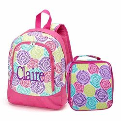 aBaby Bloom Preschool Backpack and Lunch Bag Combo, Name Claire