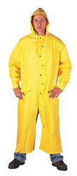 """Liberty DuraWear PVC/Polyester 2-Piece Riding Slicker with Detachable Hood, 60"""" Length, 0.35mm Thick, X-Large, Yellow (Case of 10)"""