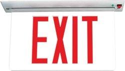 Sure-Lites EUR60R LED Commercial Edgelit Exit Recessed Aluminum Housing, Universal Face, Red Letters
