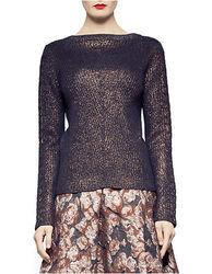 Pink Tartan Wool Horseshoe Cable Knit Sweater - Bronze - Size: XS