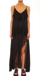 Stevie Lace Trim Split Dress - Black - Size: XS