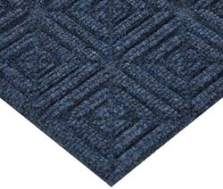 "Andersen 2215 Waterhog Eco Premier Tile PET polyester Fiber Entrance Indoor/Outdoor Floor Tile, Geometric Pattern, SBR Rubber Backing, 18"" Length x 18"" Width, 7/16"" Thick, Indigo (Case of 10)"