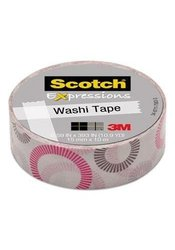 "Scotch  Expressions Washi Tape, 5/8"" x 393"", Striped Circles"