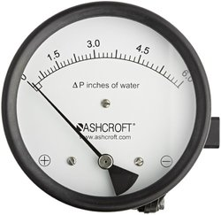 Pressure Gauge, 0 to 6 In H2O