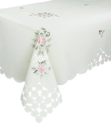Xia Home Fashions Bloom Embroidered Cutwork Floral Tablecloth, 72 by 144-Inch