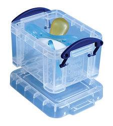 "Really Useful 0.14 Liter 3 1/4"" x 2 1/2"" x 2"" Plastic Storage Box - Clear"