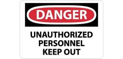 "28""x20"" ""DANGER - UNAUTHORIZED PERSONNEL KEEP OUT"" OSHA Sign - Black/Red"